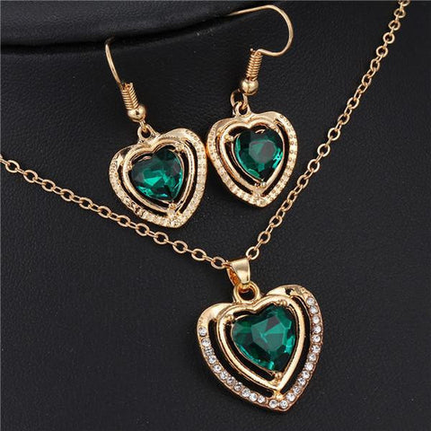 Austrian Crystal Love Heart Jewelry Set