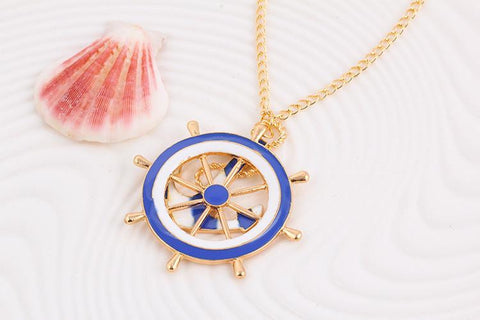 Navy Wind Anchor Necklace