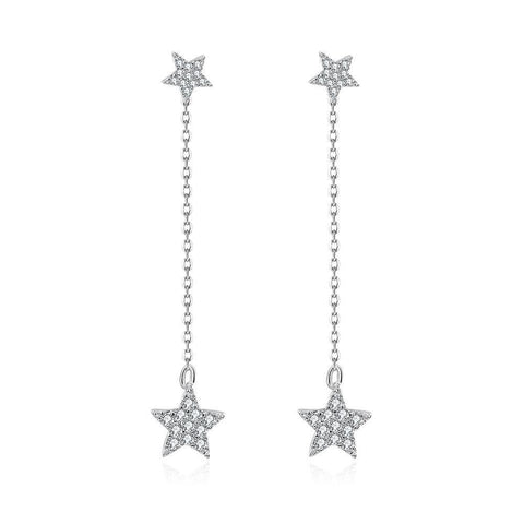 White Gold Plated Stars Earrings