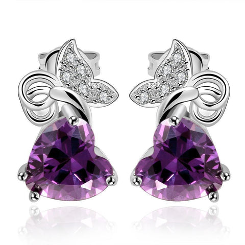 Heart Shaped Butterfly Earrings
