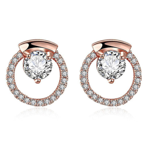 Rose Gold Plated Circular Studs