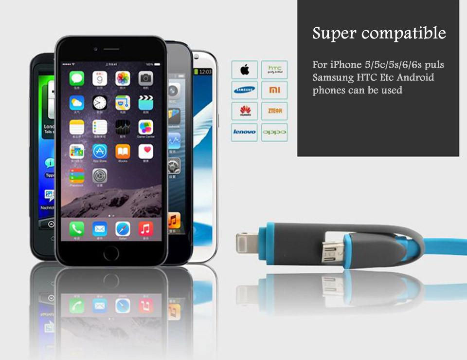 2 in 1 Fast Charging Retractable Data Cable for Apple and Android Phones