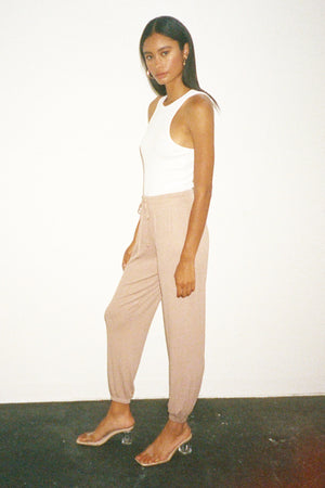 LNA Core Ribbed Jogger in Nude