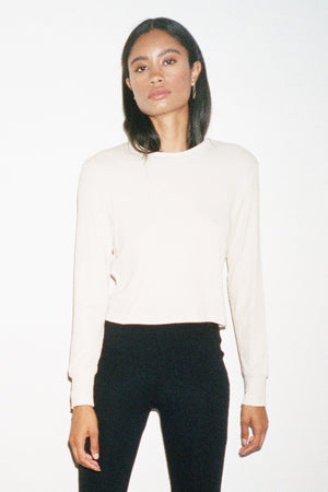 LNA Ribbed Long Sleeve Crew in Bone