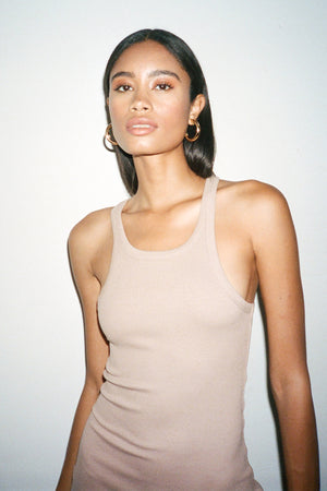LNA Ribbed Skinny Racer Dress in Nude