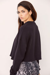 LNA Cropped Black AJ Sweatshirt