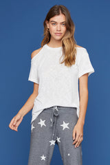 LNA Agnes Tee with Shoulder Cutouts in White