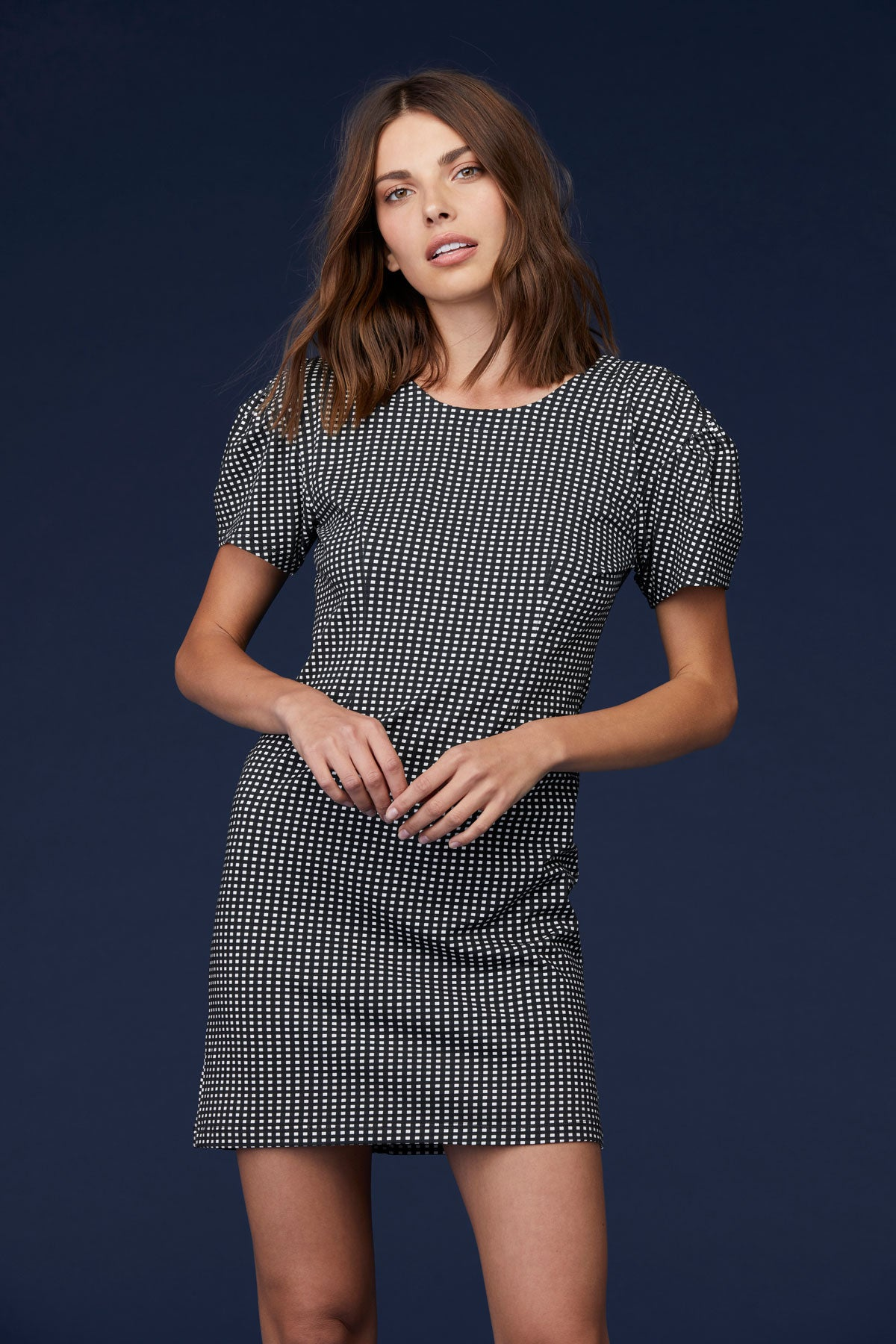 LNA Alaina Dress in checker print
