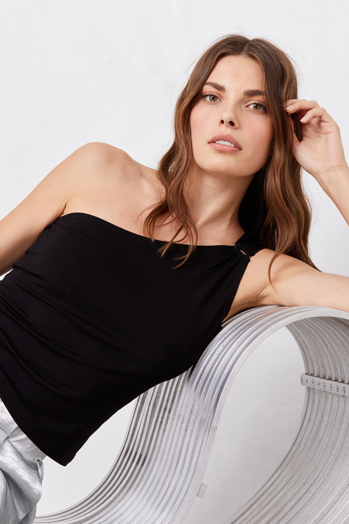 LNA Angela One Shoulder Top in Black
