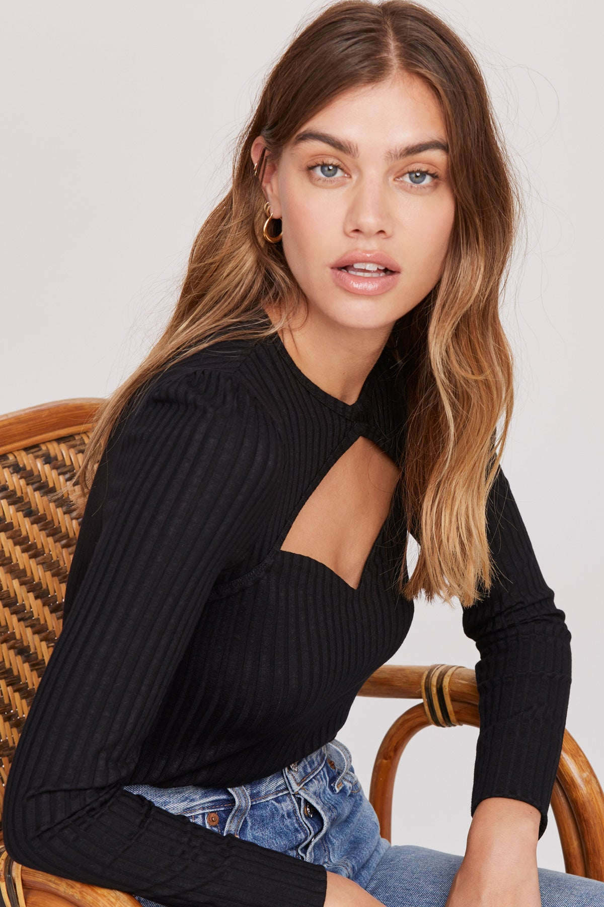 LNA Anika Black Ribbed top with front cutout