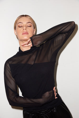 LNA Anza Mesh Sweater Top in Black