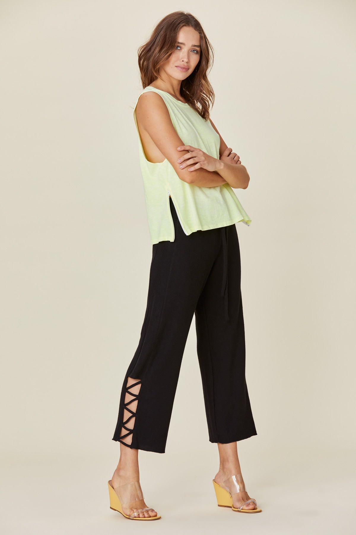 LNA Black Aria Cropped Sweatpant