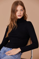 LNA Ash Crop Turtleneck in Black