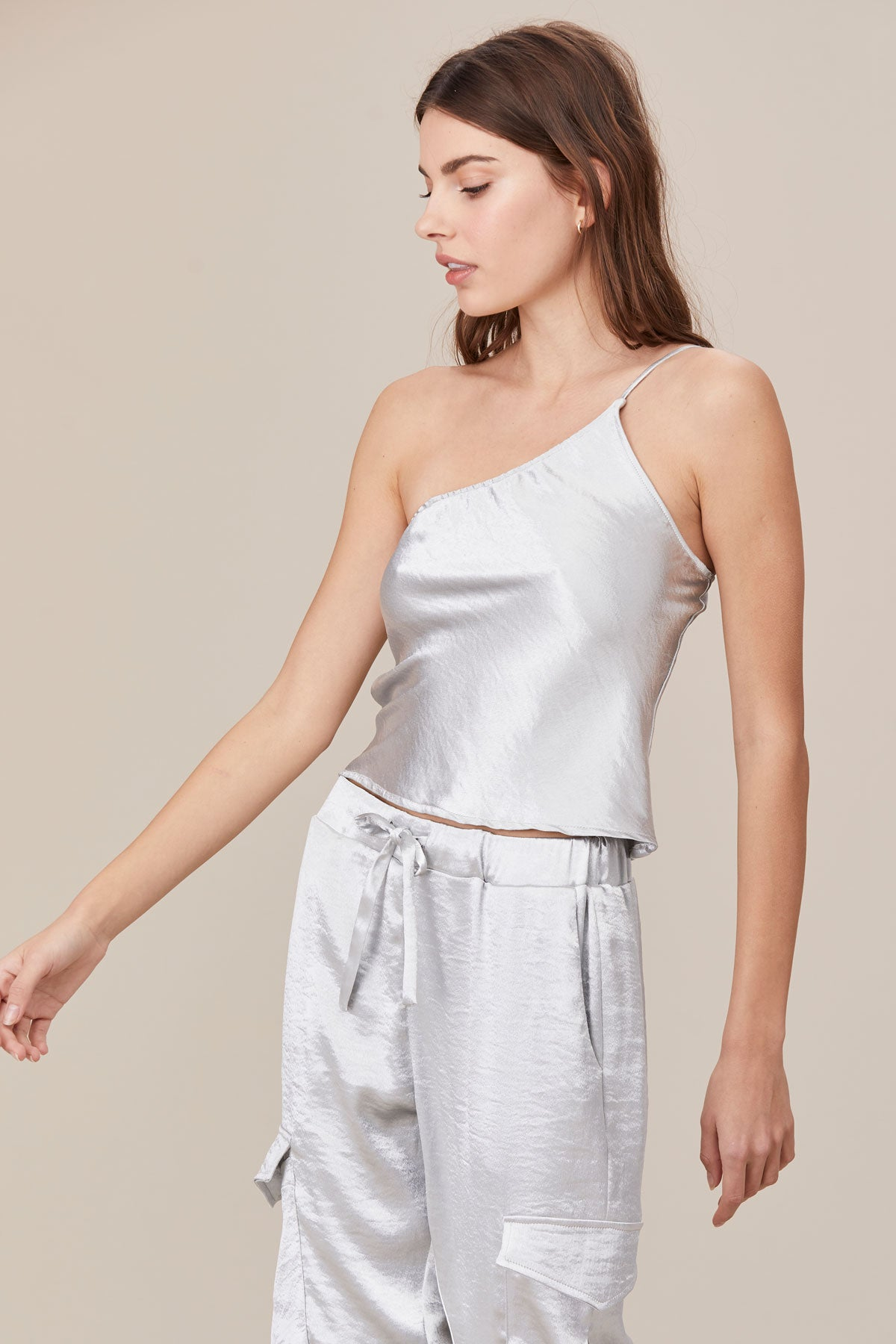 LNA Asymetric Shine Cami in Silver