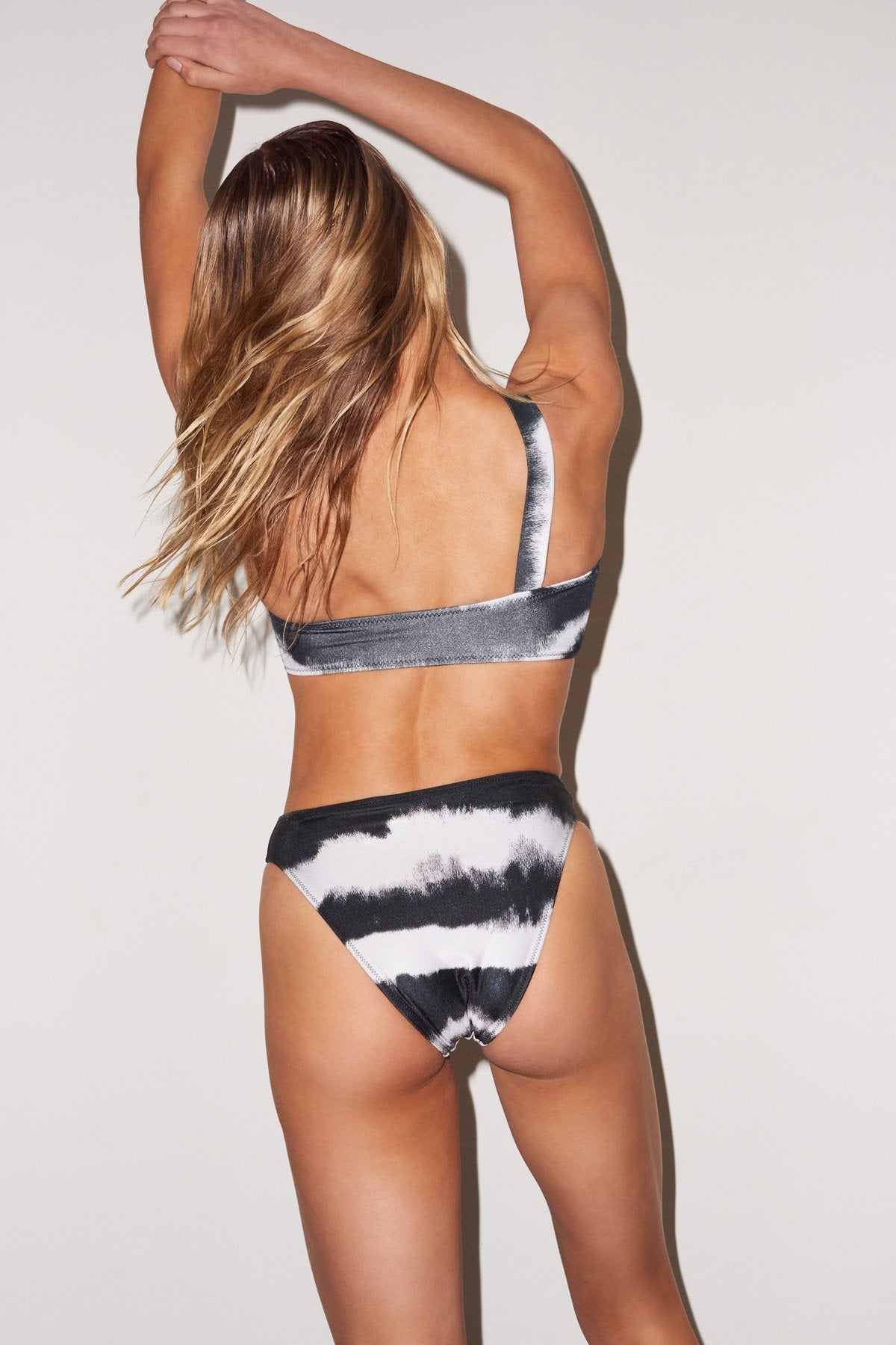LNA Sorrento High Waist Bikini Bottom in black and white tie dye
