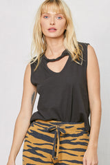 LNA Clothing Atlantis Cutout Tank in Pirate Black