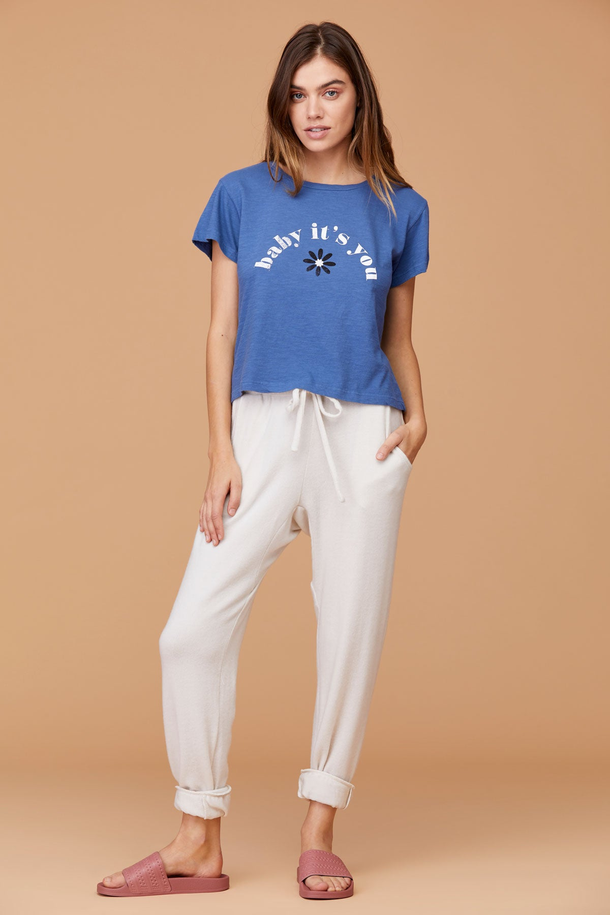 LNA Baby It's You Blue Graphic Tee