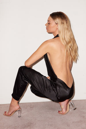 LNA Silk Blackless Jumpsuit in black