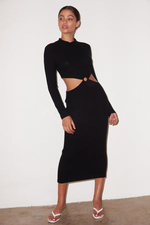 LNA Banx Dress with Side Cutouts in Black