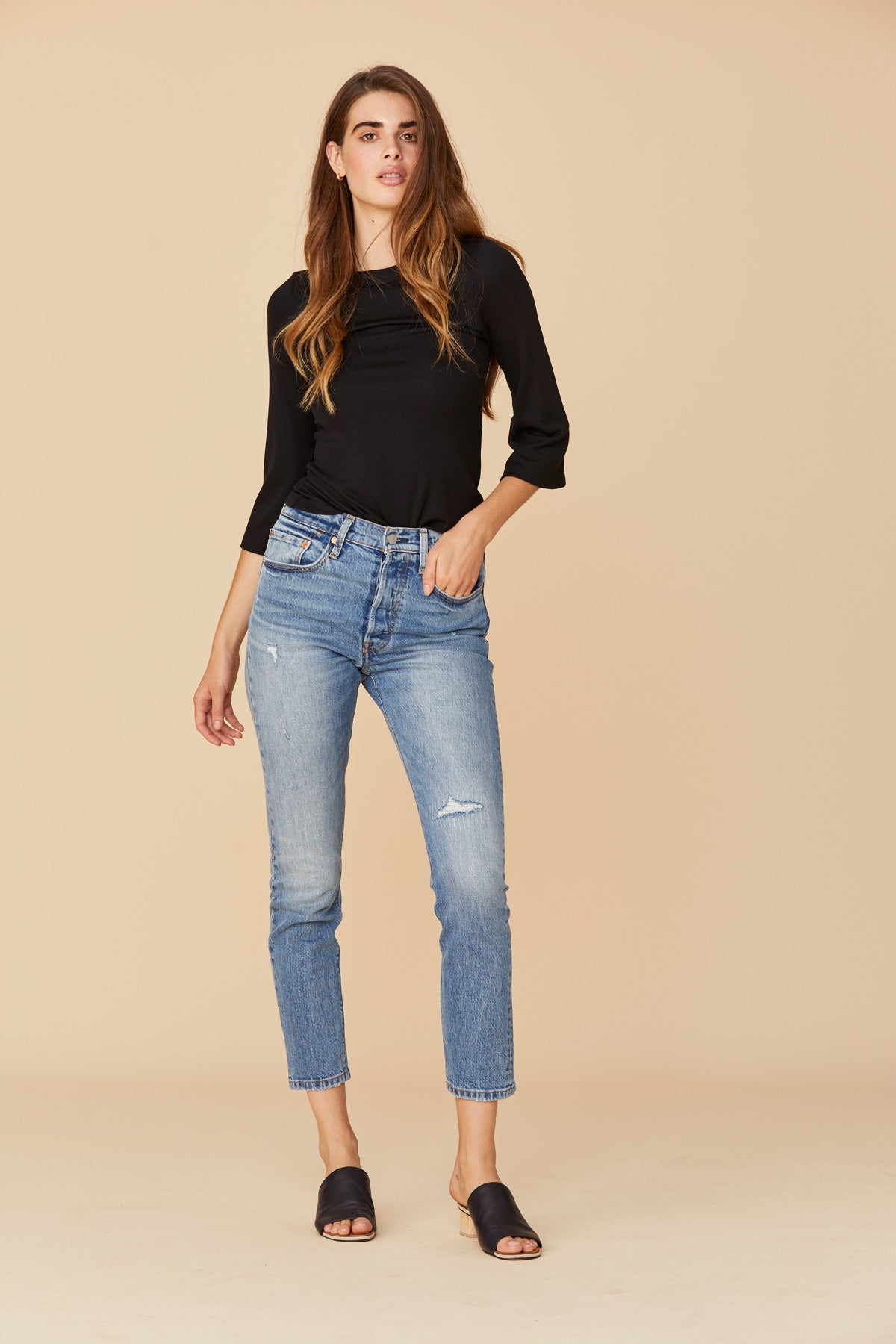 LNA Mock Neck Bell Sleeve Top