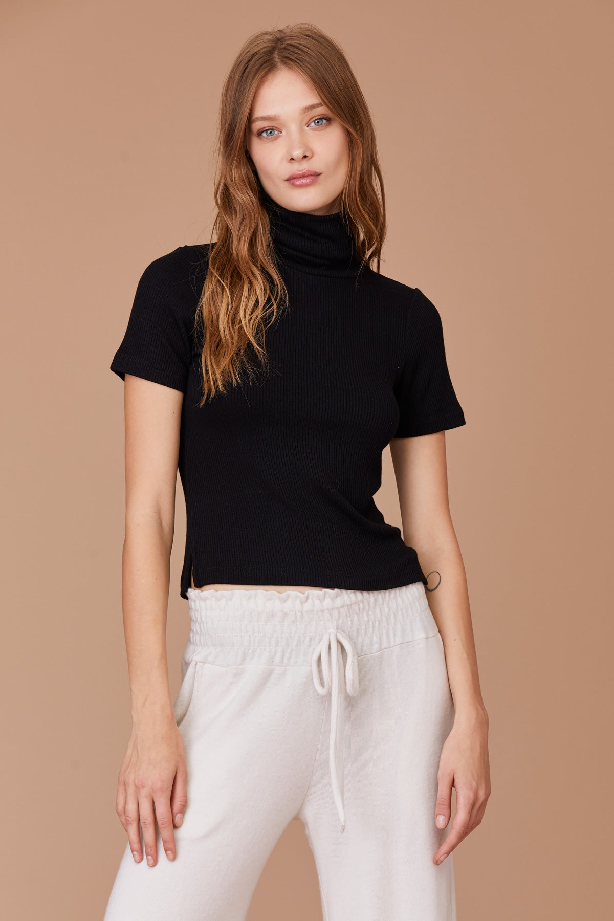 LNA Berlin Turtleneck Top in Black