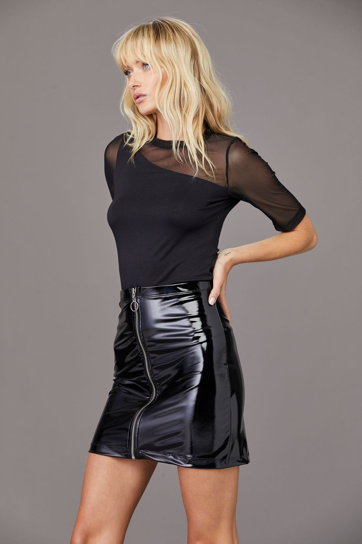 LNA Berlin Patent Mini Skirt in Black