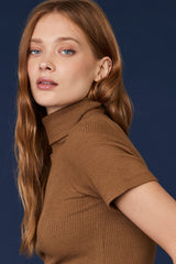 LNA Berlin Turtleneck Top in Heather Camel