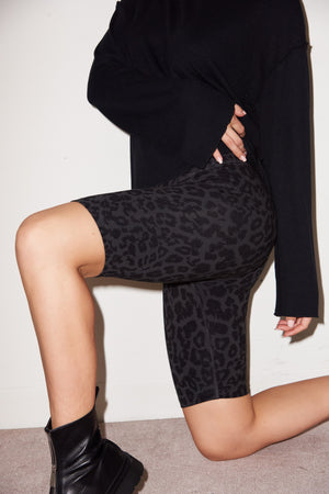 LNA Bike Shorts in Black Leopard Print