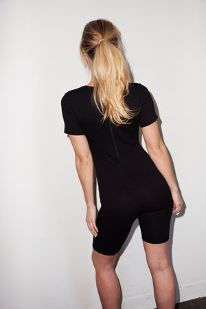 LNA Short Sleeve Bike Short Onesie in Black