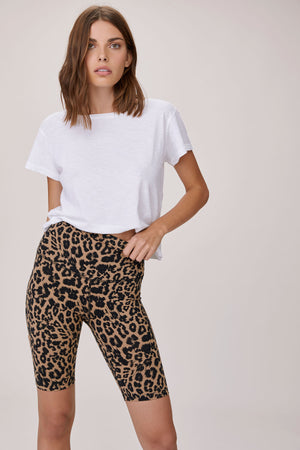 LNA Leopard Print Bike Shorts