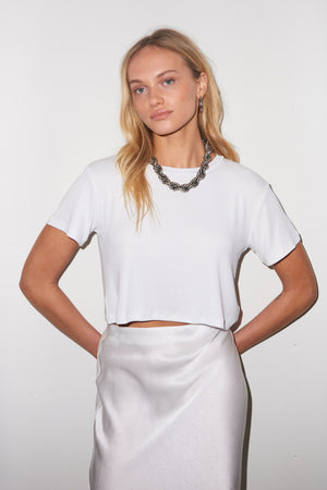LNA Billie Ribbed Crop Tee in White