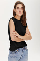 LNA Black Aero Rib Sleeveless