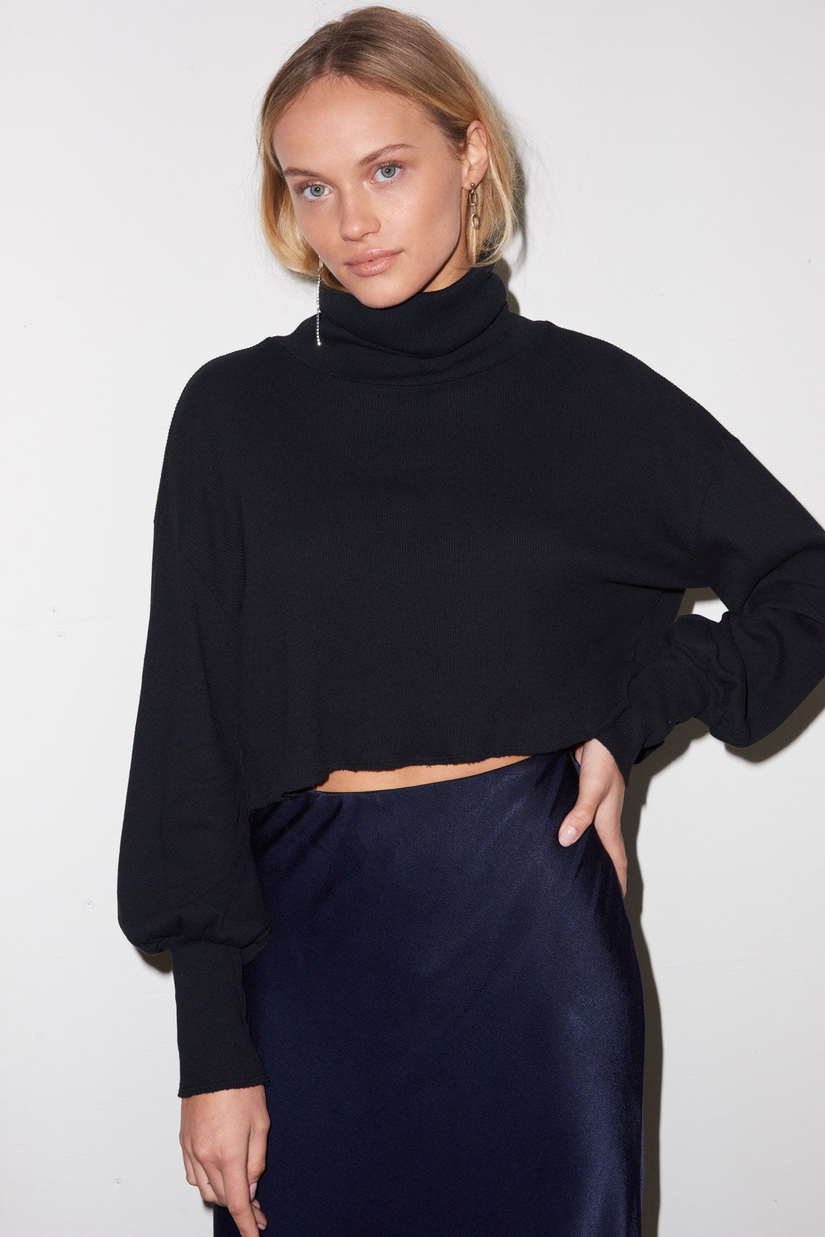 LNA Balloon Sleeve Ribbed Crop Turtleneck Top