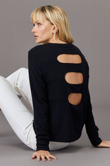 LNA Brushed Triple Back Cutout Top in Black