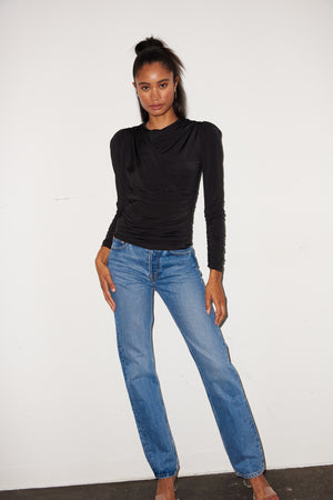 LNA Long Sleeve Cannon Top in Black