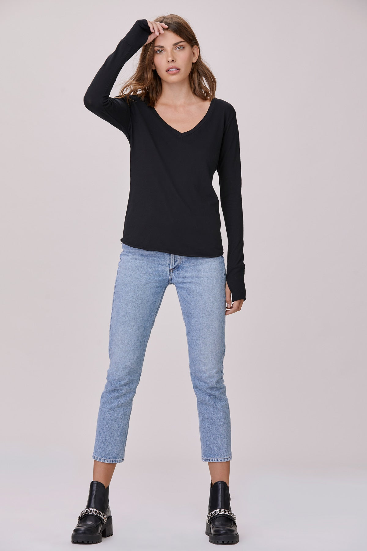 LNA Black Long Sleeve V Neck Tee with thumbholes