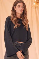 LNA Black Cropped Abby Sweatshirt
