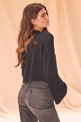 LNA Black Crop Abby Sweatshirt