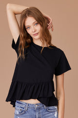 LNA Dorian Ruffle Tee in Black