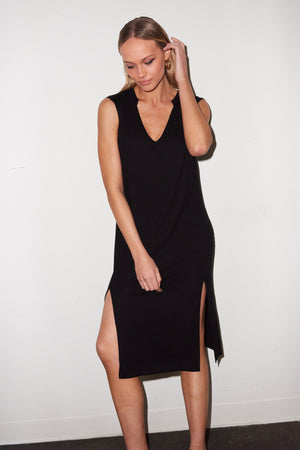 LNA Easy Rib Tank Dress in Black