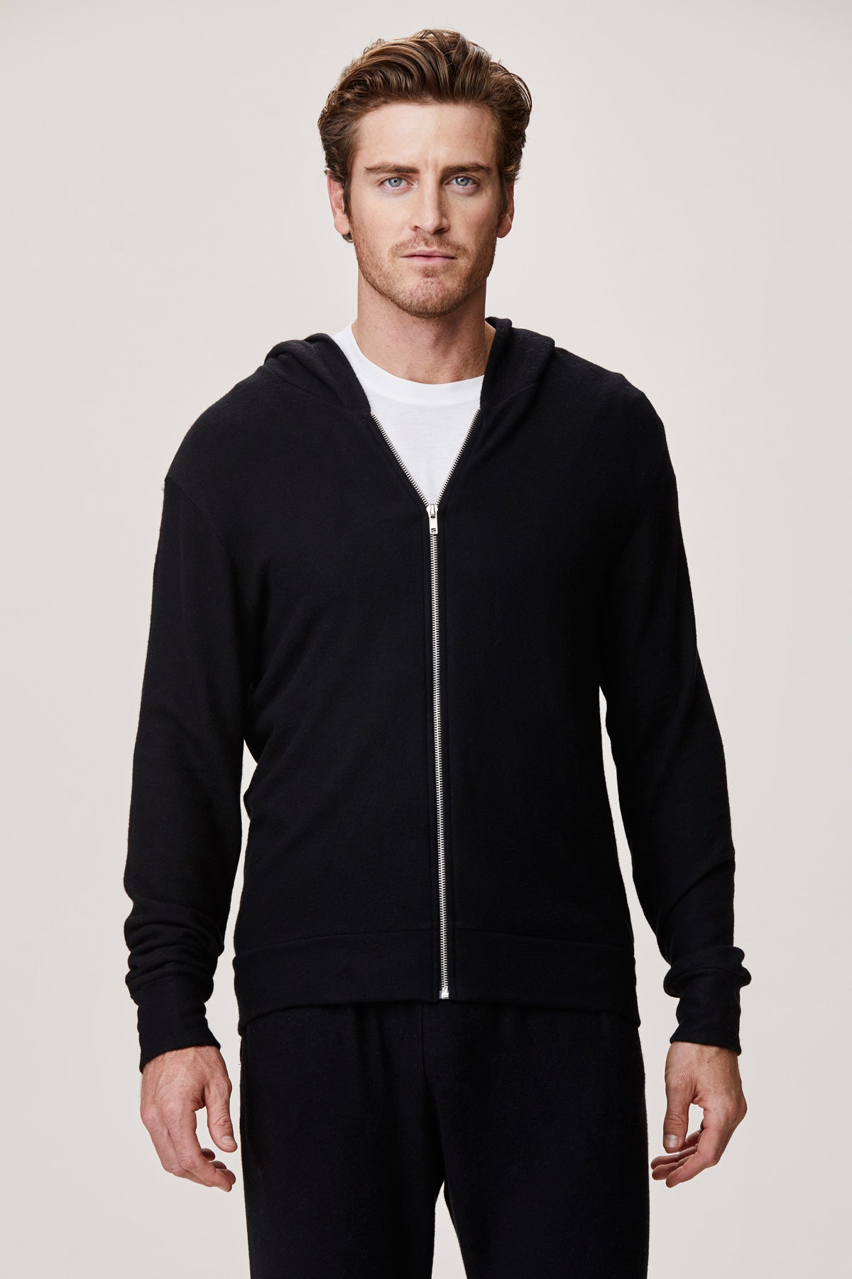 Men's Brushed Zip Up Hoodie - Black
