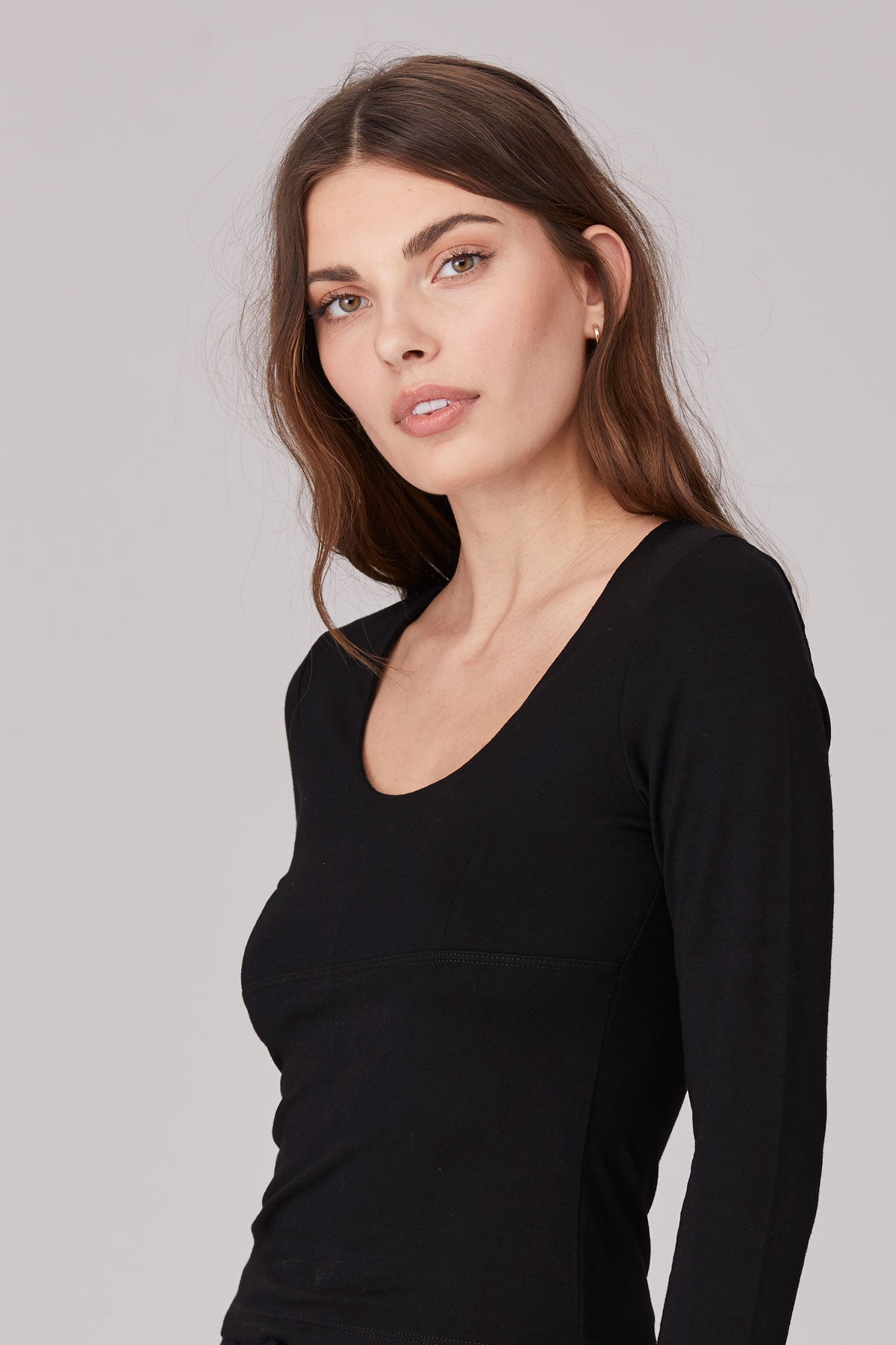 LNA Harlee Long Sleeve Top in Black