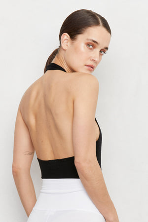 LNA Gia Halter Rib Bodysuit in Black