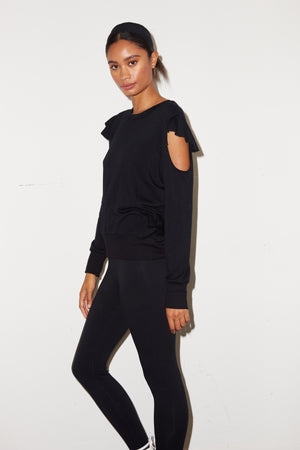 LNA Haze Sweatshirt with Cutouts in Black
