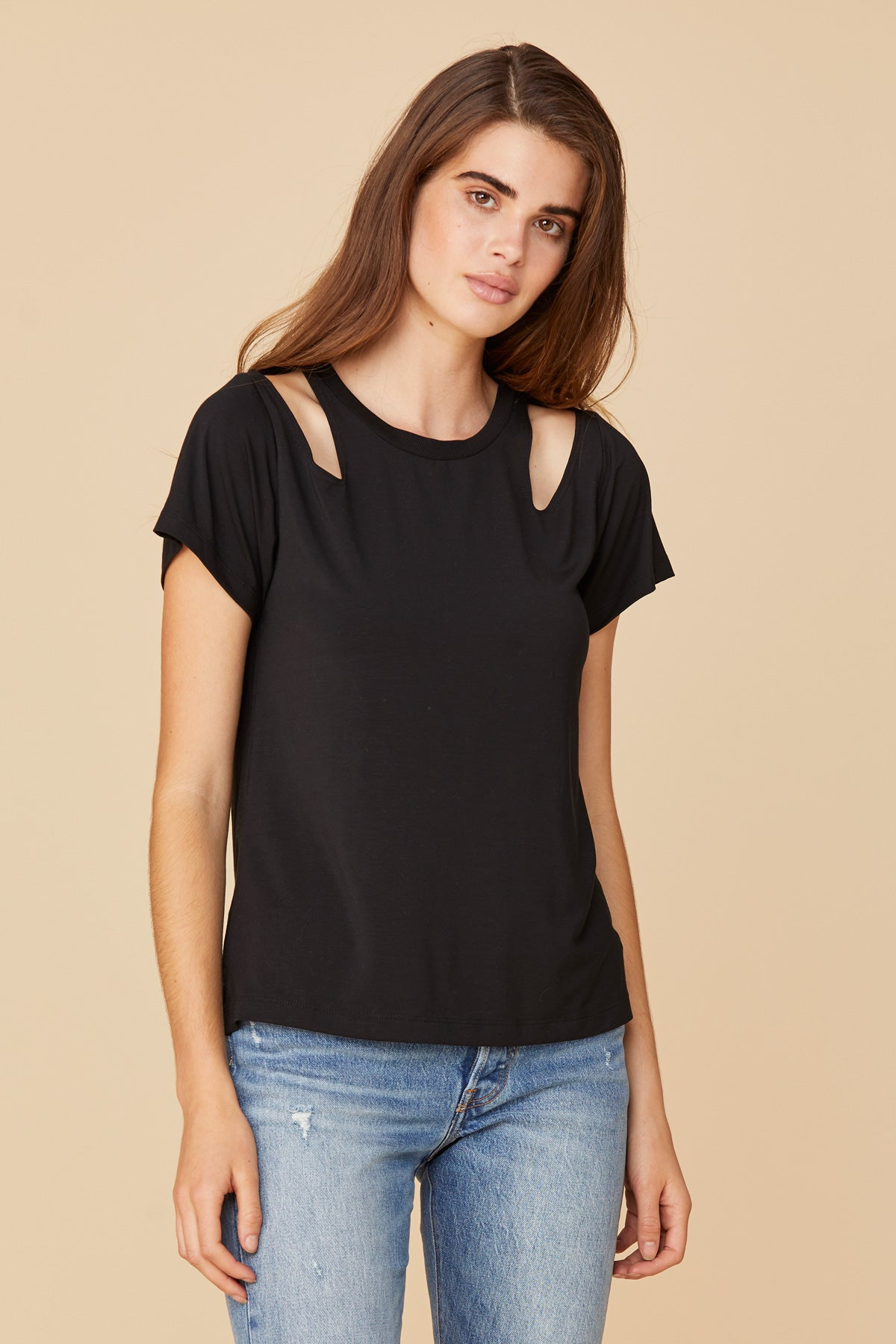 LNA Jesse Shoulder Cut Out Tee in black