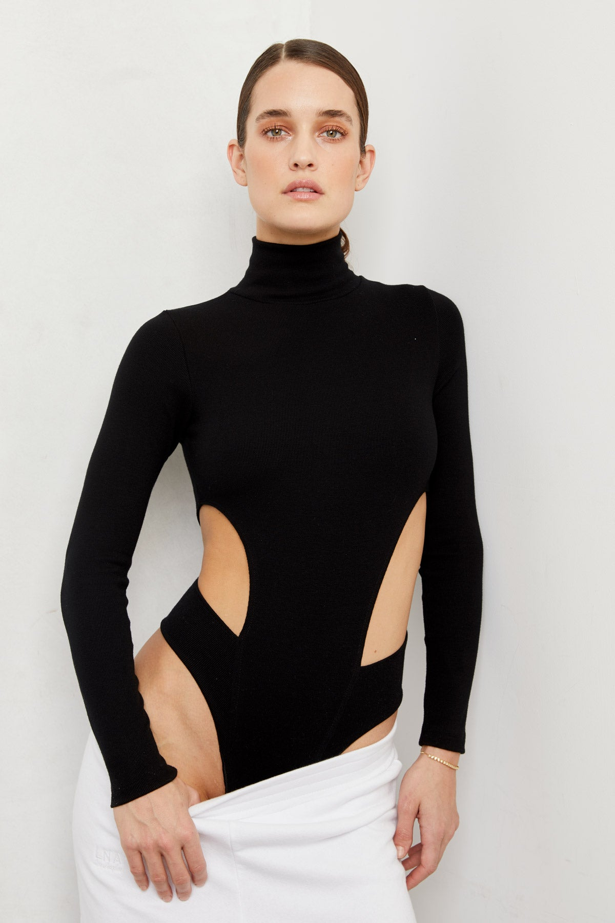 LNA Black Ribbed Jocelyn Long Sleeve Bodysuit with Side Cutouts