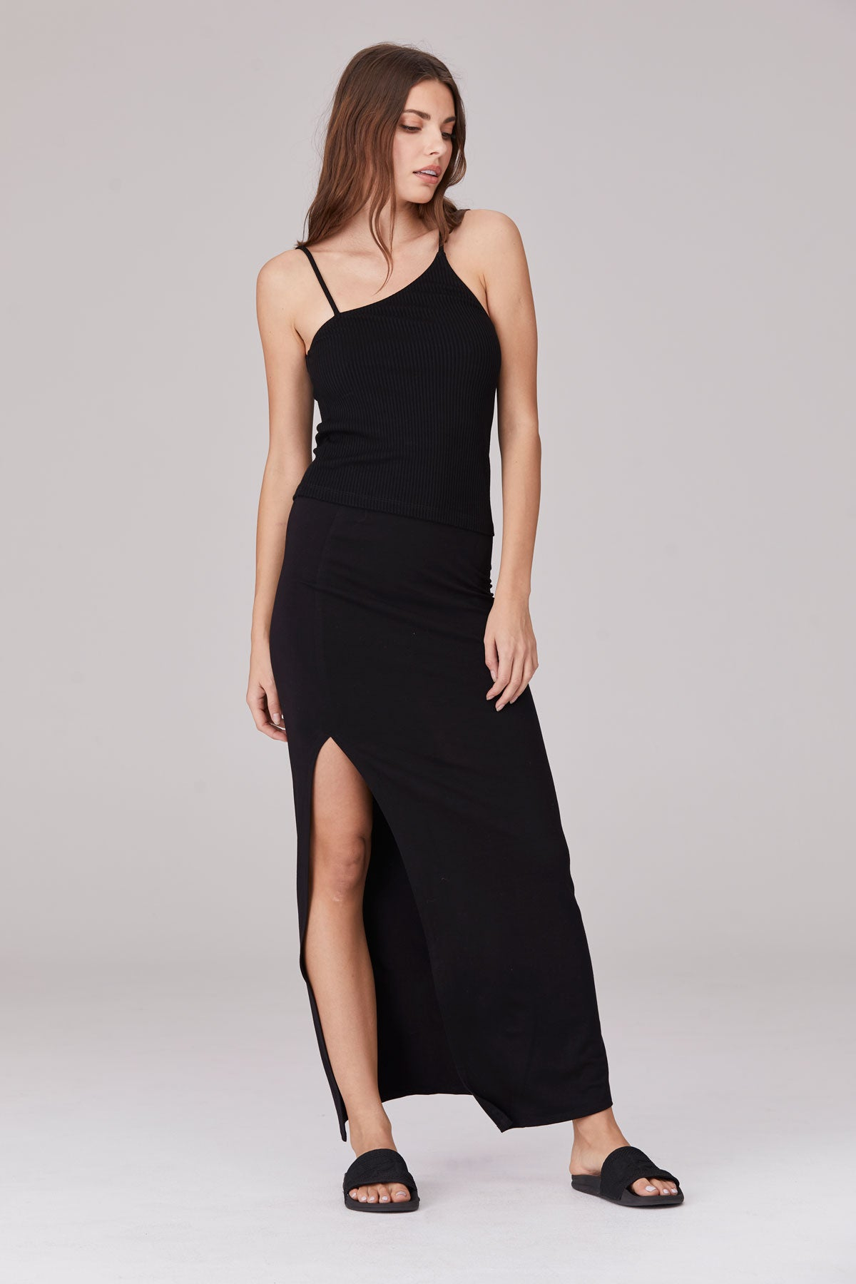 LNA Lela Maxi Skirt with slit in black
