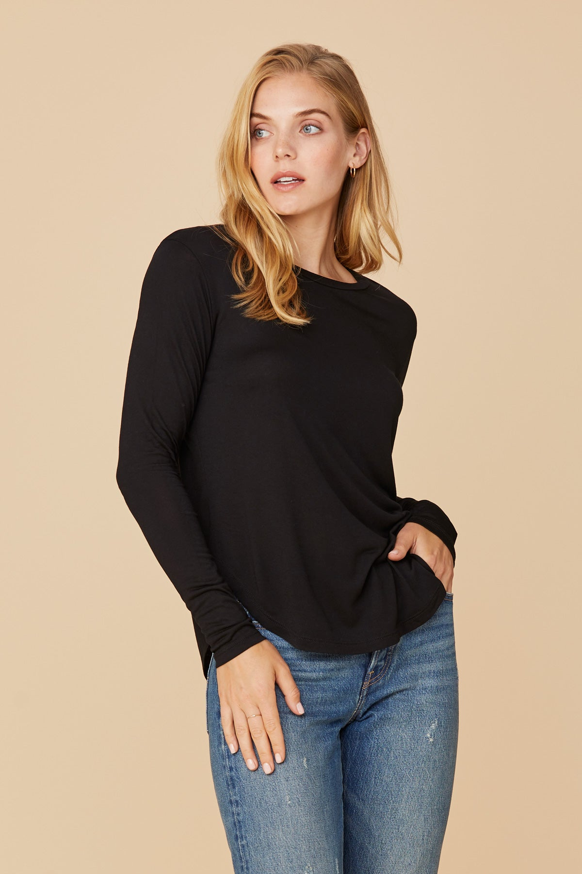 LNA Essential Long Sleeve Crew Drapey Modal in Black