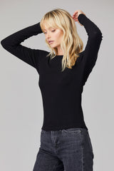 LNA Kaitlin Back Cutout Top in Black