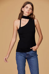 LNA Emile Cutout Tank Top in Black